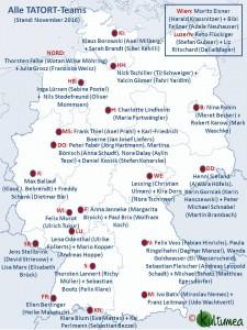 Übersicht aller Tatort-Ermittler-Teams (Stand: 11/2016) ©Kultumea