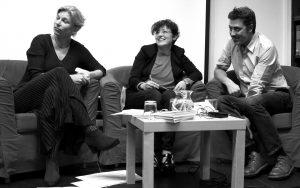 v. l. Katharina Hagena, Francesca Bravi, Andrea Bajani (Foto: Laila Mahfouz)