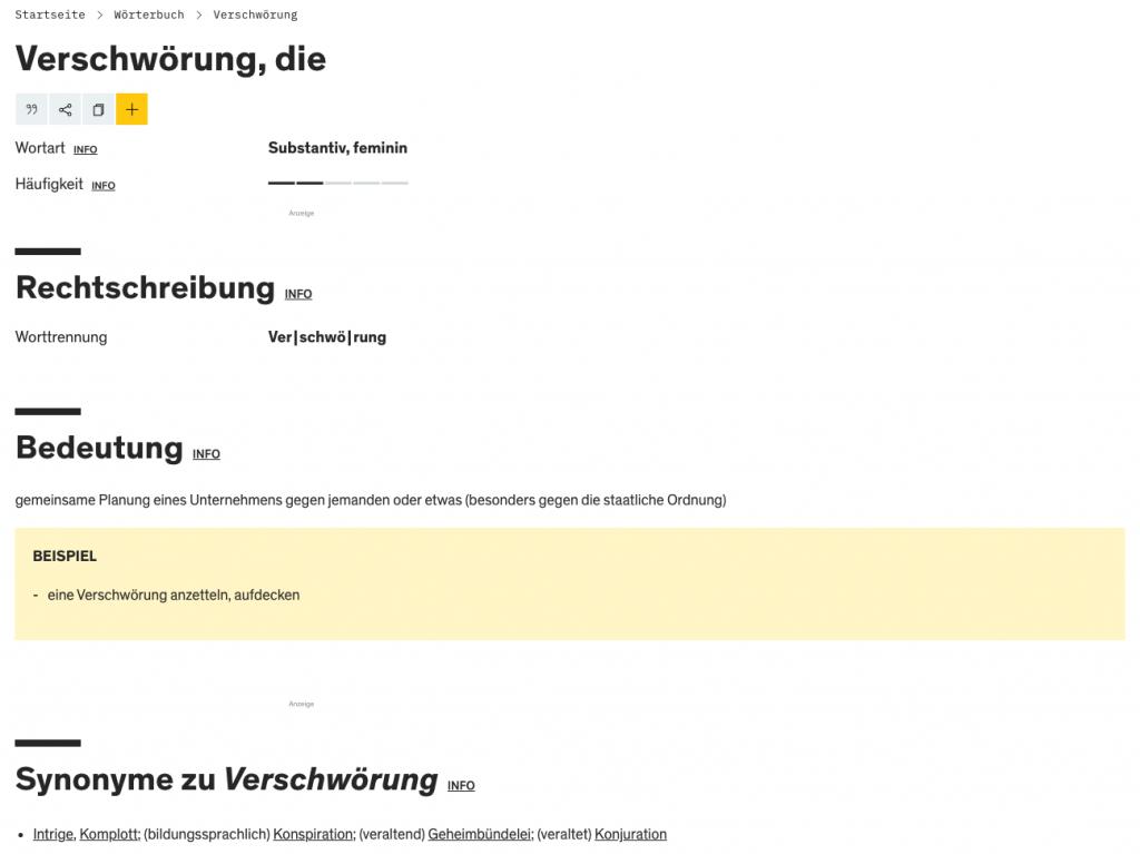 Definition des Begriffs Verschwörung auf duden.de
